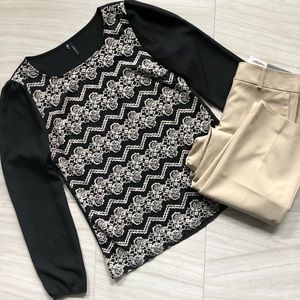 Maurices Blk & White Embellished l/s Top